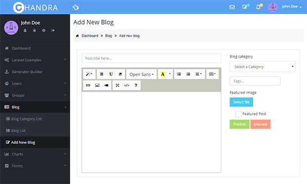 Blog Create - Admin Panel Script