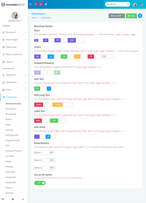 Bootstrap Switch - PHP Admin Panel Script