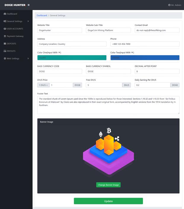 Dashboard Settings - Dogecoin Mining Script