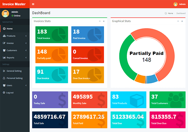 Dashboard - Invoicing Software PHP