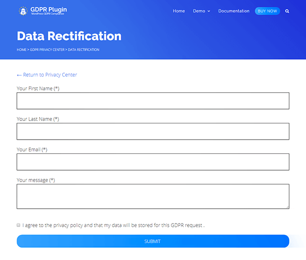 Data Rectification - WordPress GDPR Plugin