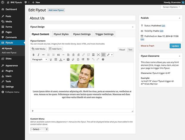 Flyout Dashboard - WordPress Off-Canvas Plugin
