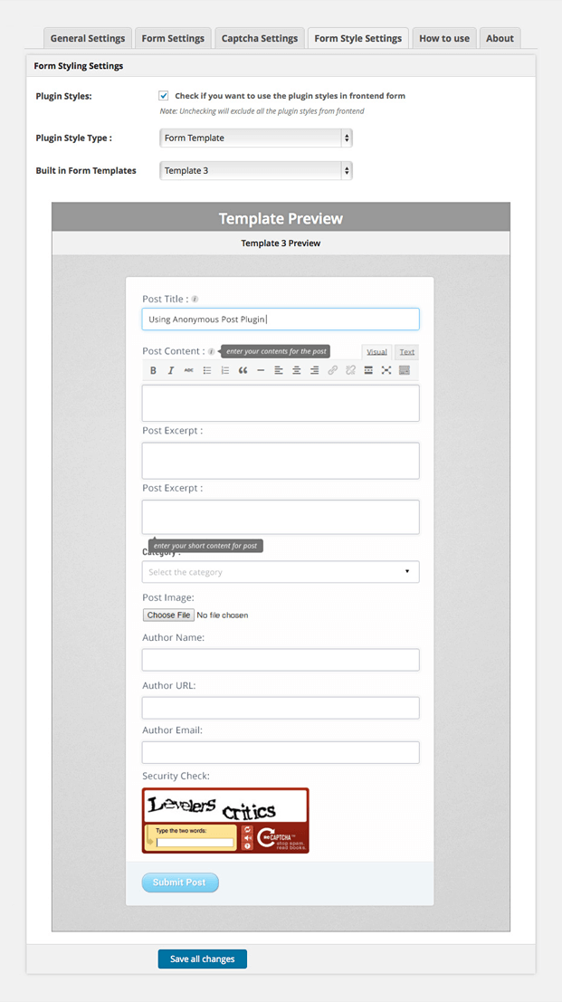 Form Style Settings - WordPress Frontend Post Plugin