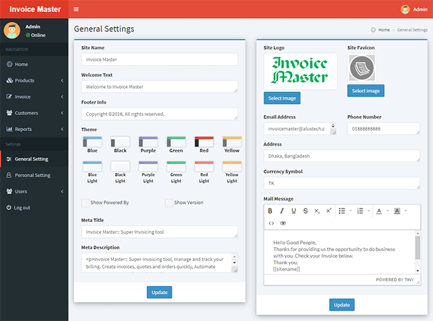 General Settings - Invoicing Software PHP