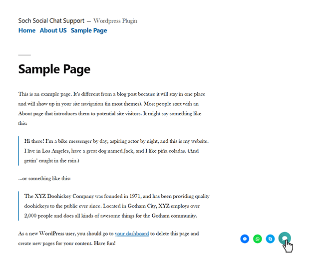 Sample Page - WordPress Social Chat Support Plugin