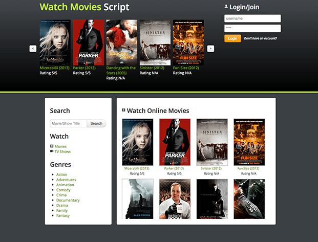 Home - Movies Website Script