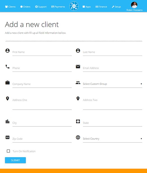 New Client Add - Client Relationship Management Software