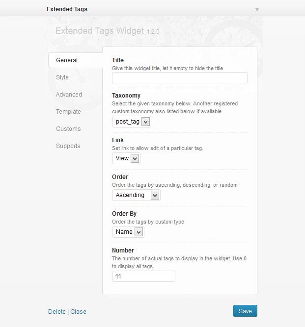 Settings - Tags WordPress Plugin