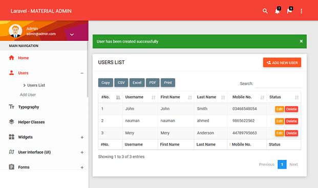 User Management - Laravel Admin Panel