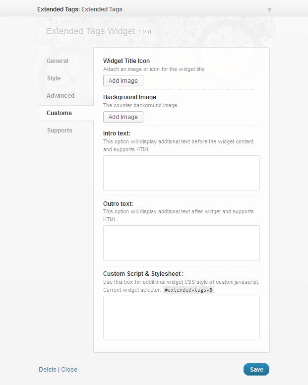 Settings Four - Tags WordPress Plugin