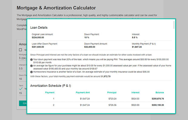 Loan Details - Mortgage Loan Calculator WordPress Plugin