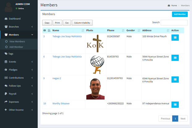 Member - Church Manager Software