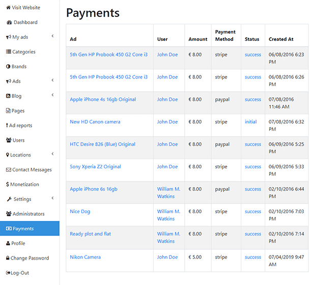 Payments - Best Classified PHP Script