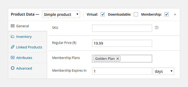 Product Data - WooCommerce Membership Plugin