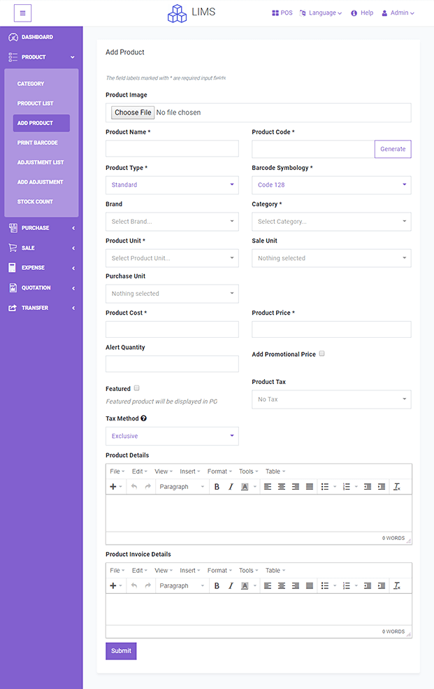 Create Product - PHP Stock Manager Script