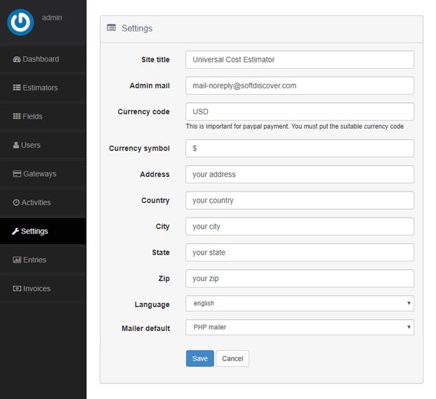 Settings - Invoice Maker PHP Script