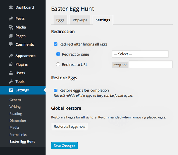 Settings Two - WordPress Easter Egg Plugin