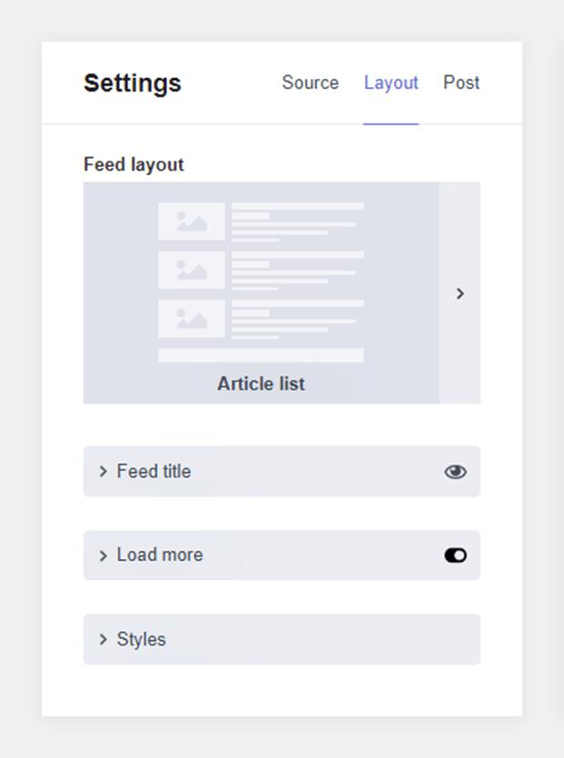 Settings Layout-WordPress Post Feed Plugin