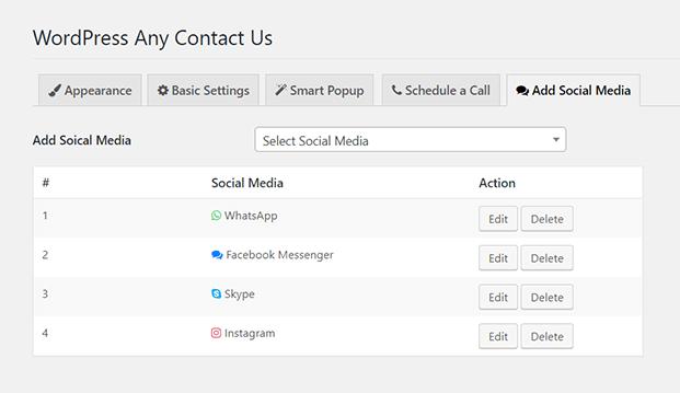 Social Media Option - WordPress Support Plugin