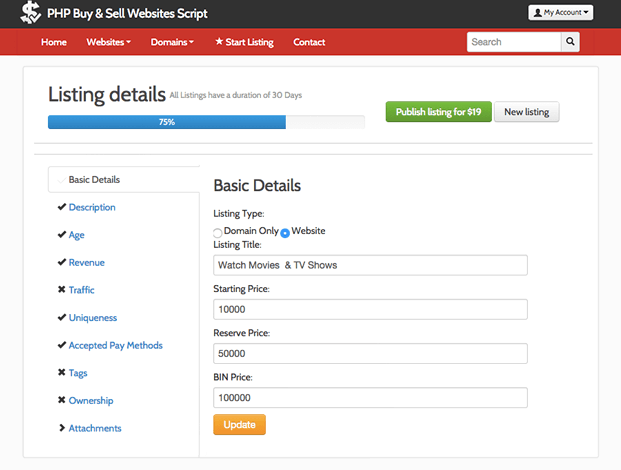 Create Listing - Domain Marketplace Script