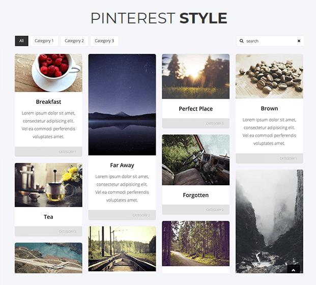 Pinterest Style - Responsive Gallery WordPress Plugin