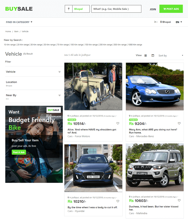 Vehicle - PHP Classified Ads Script