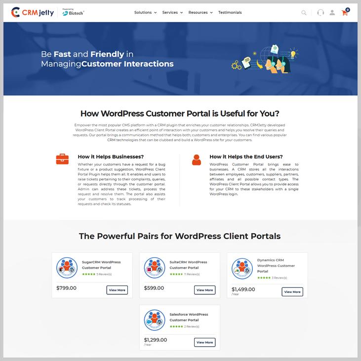 CRMJetty - Client Portal WordPress Plugin
