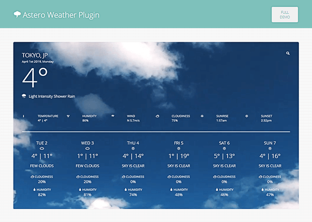 Home - WordPress Weather Plugin