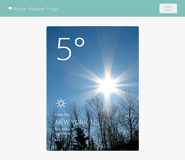 Image Demo - WordPress Weather Plugin