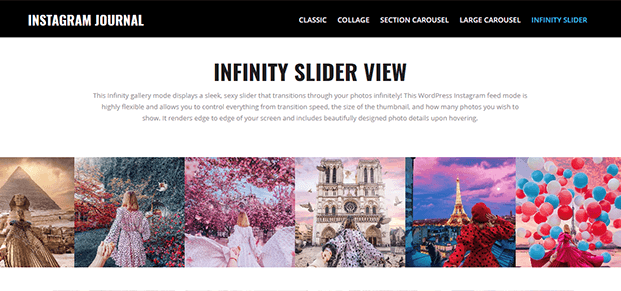 Infinity Slider - WordPress Instagram Feed Plugin