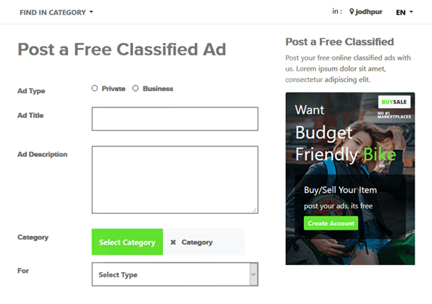 Post Ads - PHP Classified Ads Script