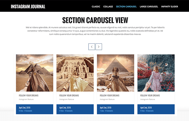 Section Carousel - WordPress Instagram Feed Plugin