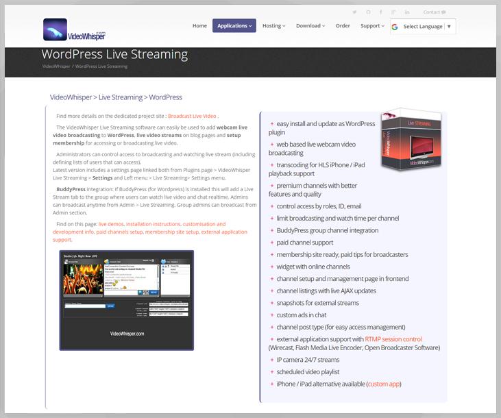 VideoWhisper - Live Streaming WordPress Plugins
