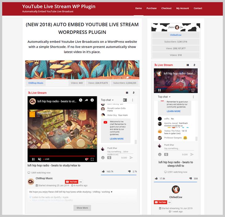 YouTube Live Stream WP Plugin - Live Streaming WordPress Plugins