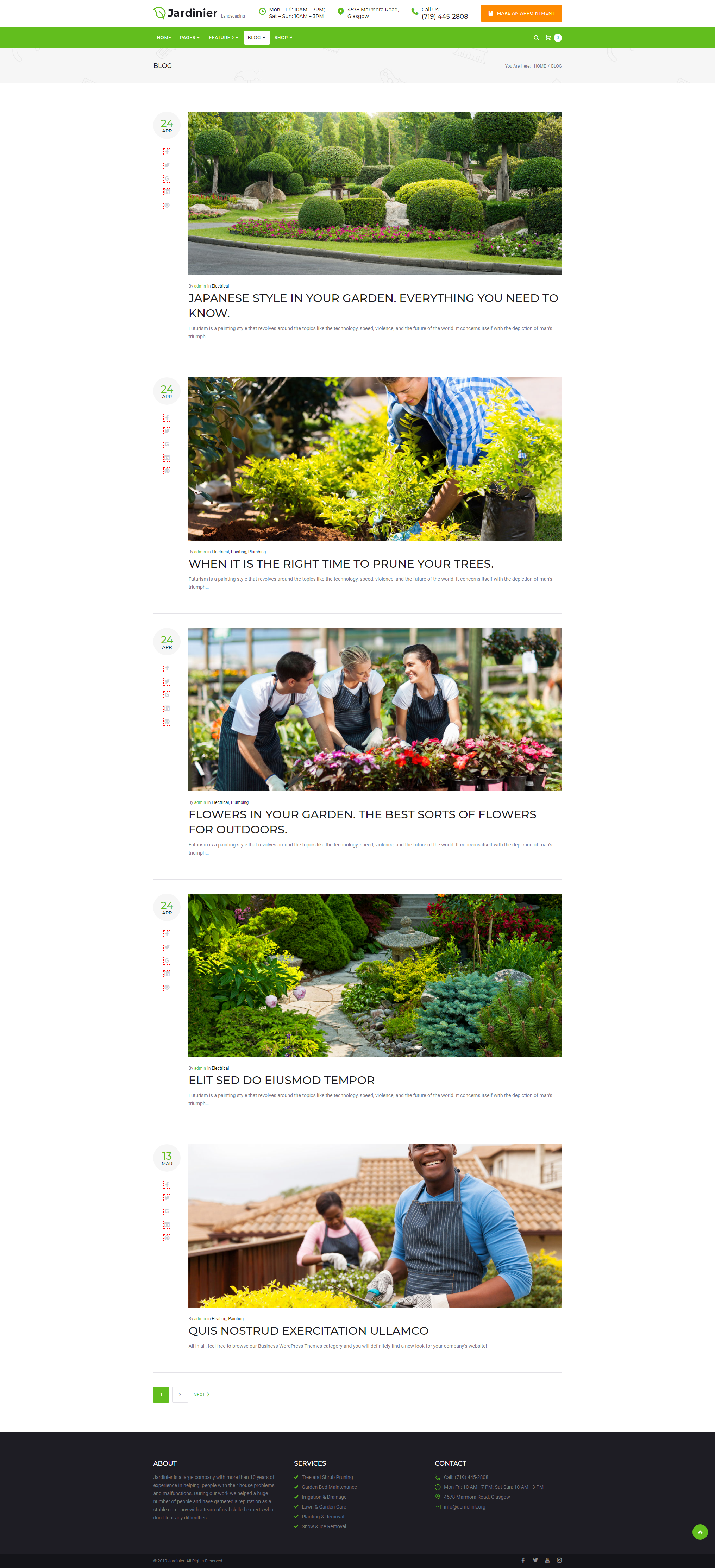 Blog - Landscaping Theme WordPress