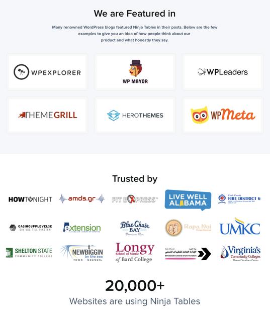 Featured In - Table WordPress Plugin