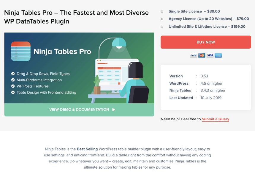 Home - Table WordPress Plugin