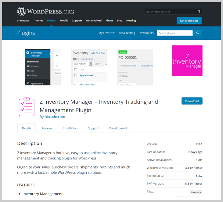 Z Inventory Manager - Inventory WordPress Plugin