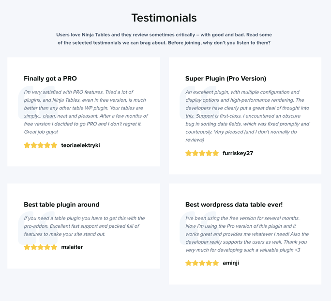Testimonials - Table WordPress Plugin