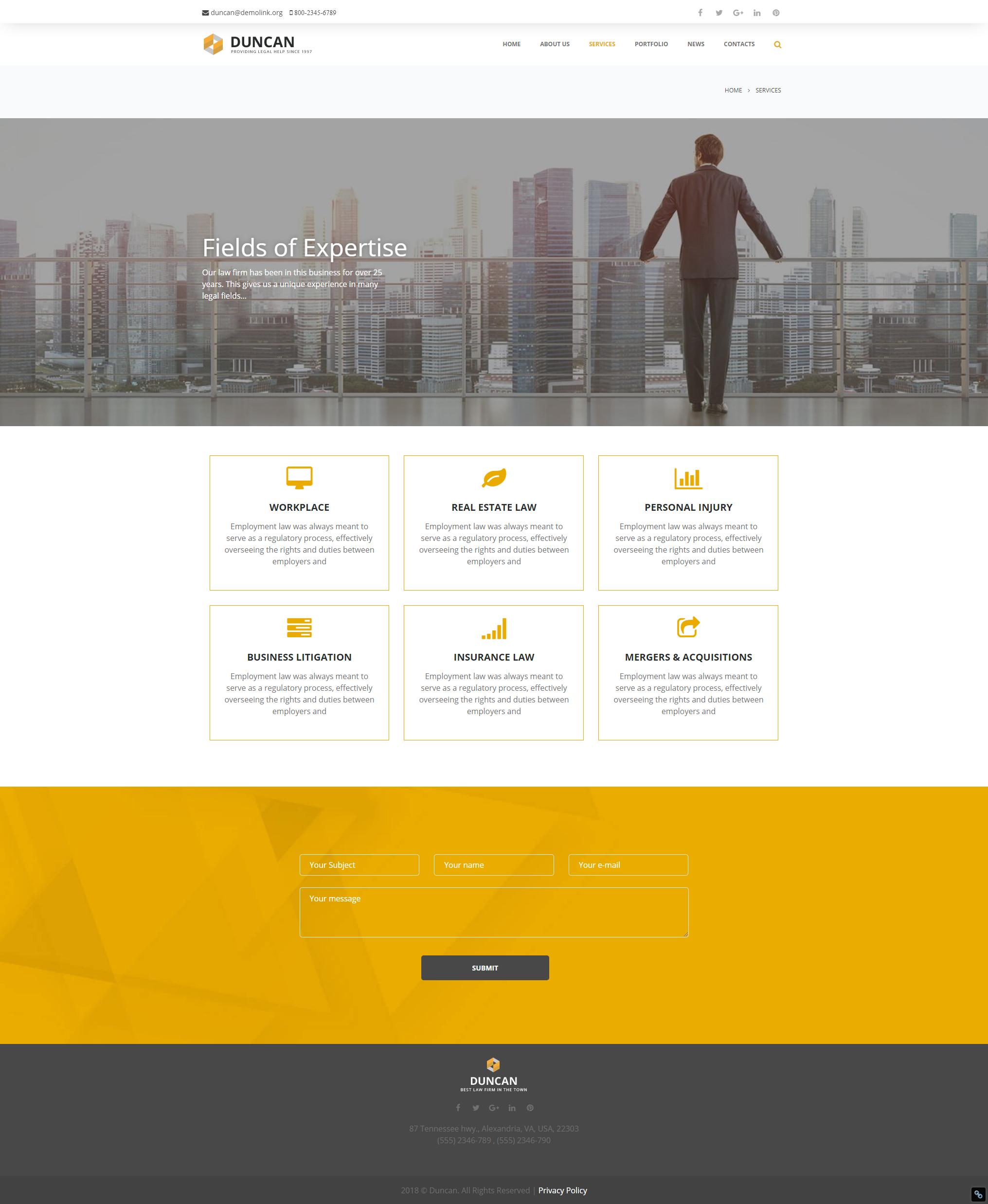Services - Best Lawyer WordPress Theme