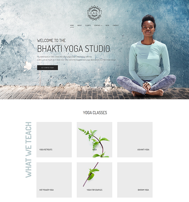 Home Page - Yoga WordPress Theme