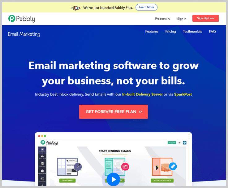 Pabbly Email Marketing - Top SMTP2Go Alternatives