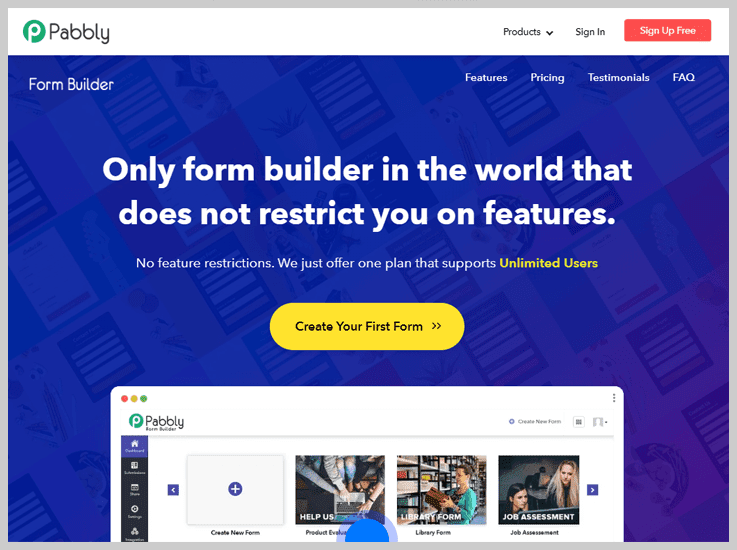 Pabbly Form Builder - Grow Subscription List
