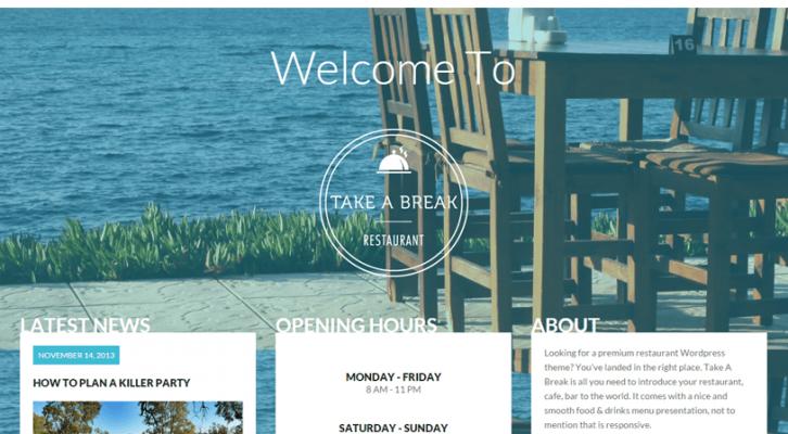 Take a Break - responsive one page wordpress theme