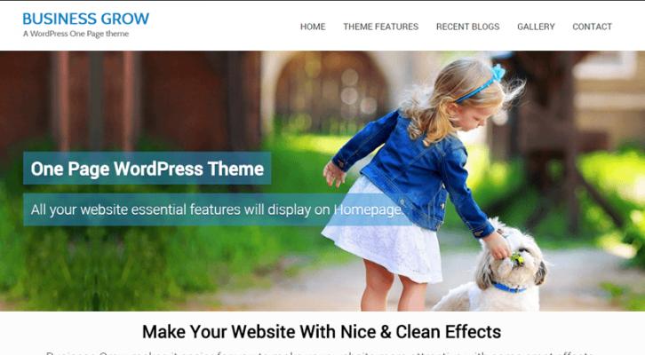 businessgrow - parallax one page wordpress theme