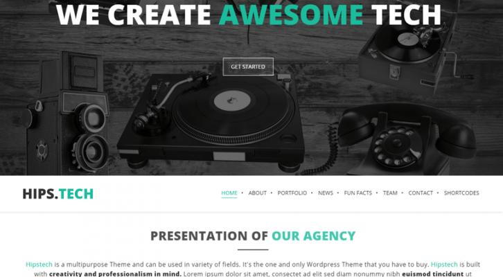 hipstech - one page wordpress theme